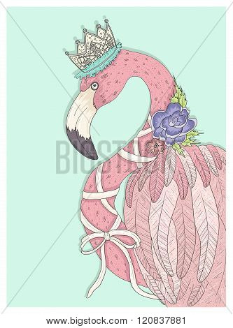 Stock Vector Illustration: Cute flamingo with flower crown and ribbon. Fairytale vector illustration for kids or children.