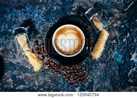 Barista And Latte Art On Cups Of Coffee At Bar, Pub Or Restaurant