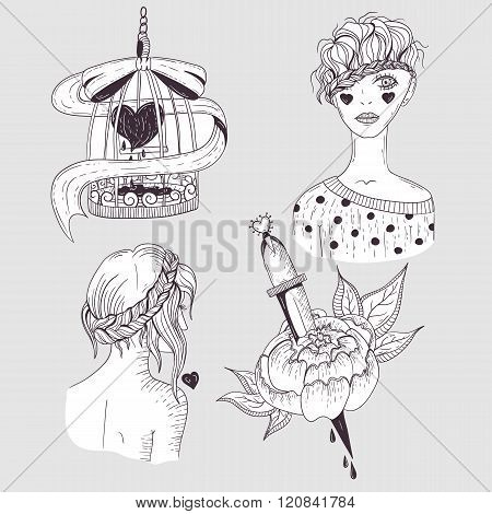 Cute tattoo set. Young girls flower and bird cage with heart.