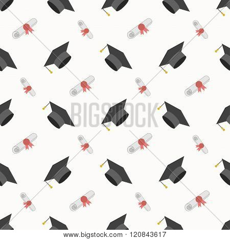 Graduation Cap And Diploma Seamless Pattern Background