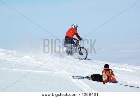 Biker And Skier