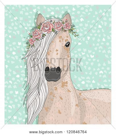 Cute horse with flowers. Fairytale background for kids or children
