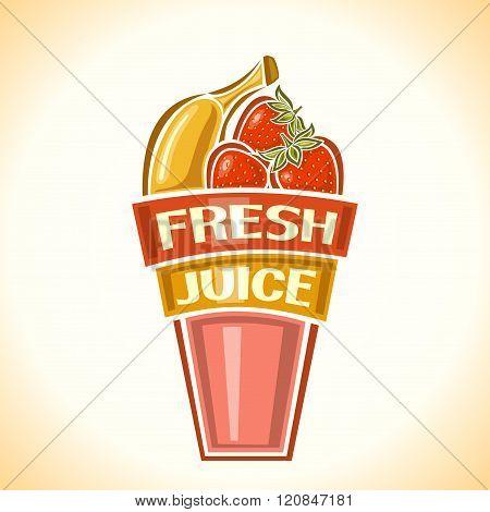 Banana-strawberry fresh juice