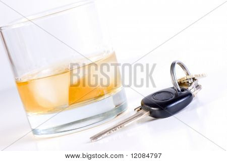 Car keys placed close to drink Don't drink and drive