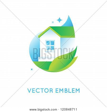 Vector Logo Design Template In Bright Green Gradient Colors
