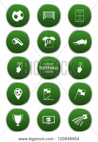 Football or soccer sport icons set.