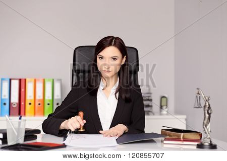 Brunette Woman Notary Public Stamping Notary Act