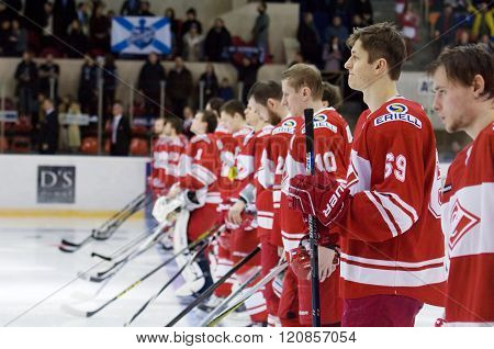 MOSCOW - JANUARY 15: Spartak team just before hockey game Spartak vs Admiral on Russian KHL premier hockey league Championship on January 15 2016 in Moscow Russia. Spartak won 5:4