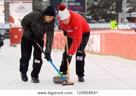 Curling Players M. Pfister (l) And S. Gempeler (r)