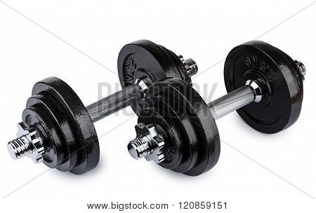 Two Ajustable Dumbbells Isolated On White