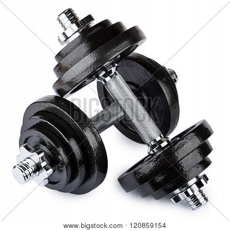 Two Metallic Ajustable Dumbbells Isolated On White