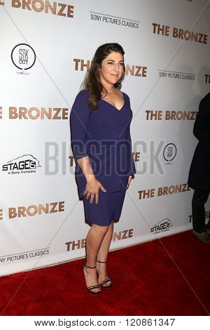 LOS ANGELES - MAR 7:  Mayim Bialik at the The Bronze Premiere at the SilverScreen Theater at the Pacific Design Center on March 7, 2016 in Los Angeles, CA