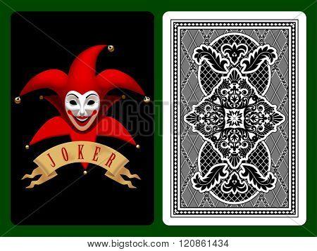 Red Joker playing card on black and backside background. Original design. Vector illustration