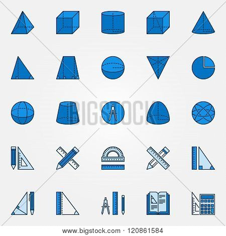 Geometry blue vector icons