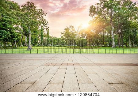 viewing platform and park at sunset