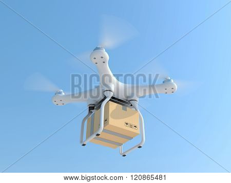 Drone quadcopter carrying mail box for fast air delivery poster