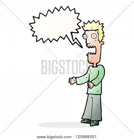 cartoon man freaking out with speech bubble