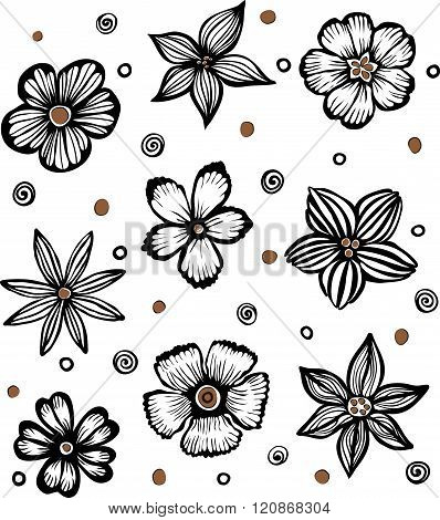vector seamless background with black graphic flowers