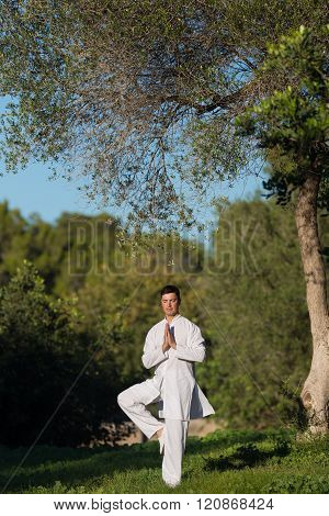 Young Man Doing Yoga In The Park