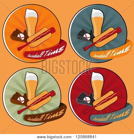 Baseball Time Cartoon Labels Set . Concept Of Graphic Clipart Work