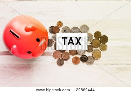 Piggy bank and money with tax text on white card background