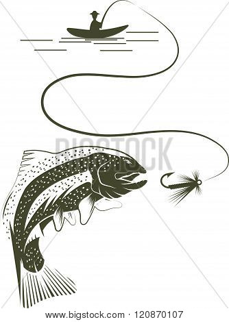 Fisherman In Boat And Trout . Concept Of Graphic Clipart Work