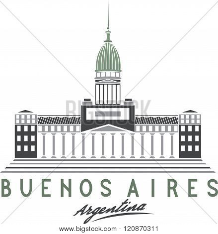 Building Of Congress In Buenos Aires, Argentina, Vector Illustration