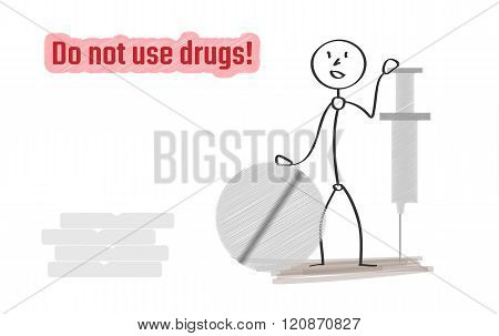 Man With Injection And Pills