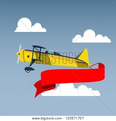Airplane with banner in the sky