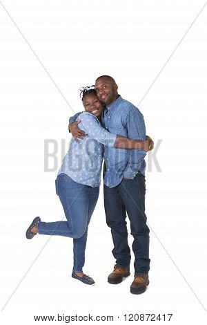 A dad and his teenage daughter isolated on white