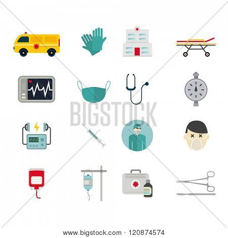 Ambulance reanimation icons vector. Ambulance reanimation icons isolated on white background. Ambulance reanimation icons silhouette. Ambulance reanimation car and doctors