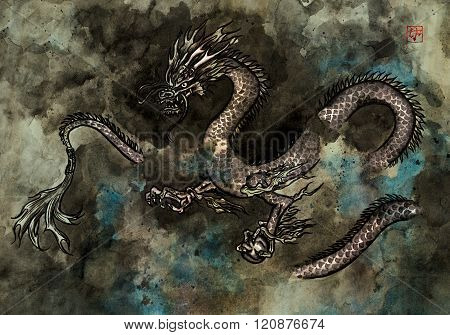 Ink Painting Of A Dragon