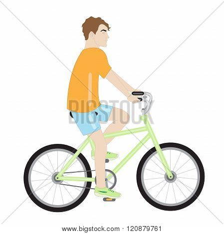 Attractive Man On A Bicycle