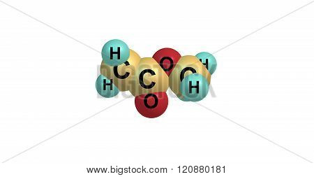 Methyl acetate or acetic acid methyl ester or methyl ethanoate is a carboxylate ester, 3d illustration