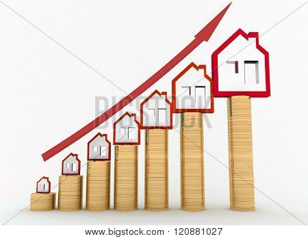 Diagram of growth in real estate prices. 3d illustration on white background