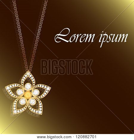 Gold flower with diamond. Gold element. Jewelry element. Can use for invitation, wedding card or you