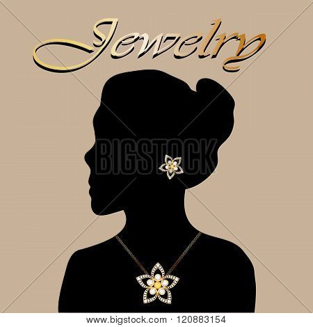 Silhouette of beautiful woman with jewelry flowers. Jewelry vector. Jewelry picture. Jewelry JPEG. J