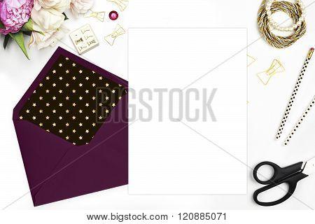 Mock-up product template. Flat lay, wedding invitation blank. Woman modern scene, feminine backgroun