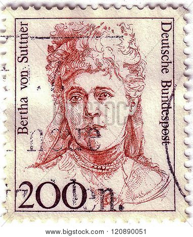 Germany - Circa 1991: Stamp Printed By Germany, Shows Portrait Of Bertha Von Suttner (1843-1914), 19