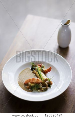 Prawns With Roast Vegetables And Soy Cream Sauce
