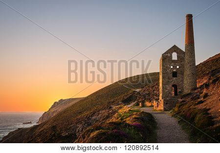 Ruins of a tin mine, Wheal Coates Mine, St. Agnes, Cornwall, England