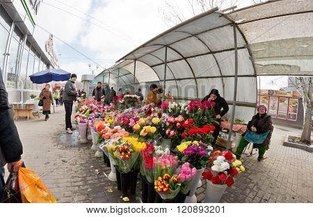 Large Selection Of Flowers At The Makeshift Markets In The City Streets On International Women's Day