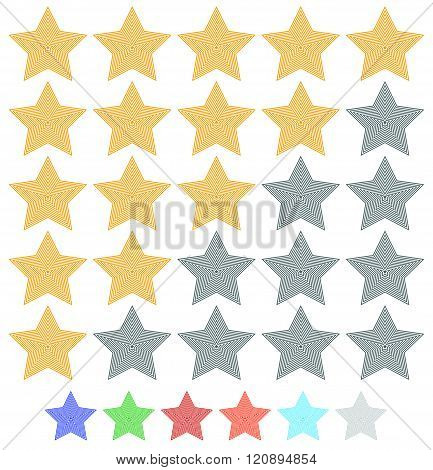 Star Rating Element With Contour Stars. 7 Colors Included.