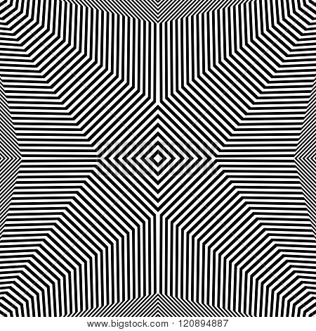 Abstract Geometric Lines Pattern. Symmetric Deformed Squarish Geometry. (seamlessly Repeatable.)