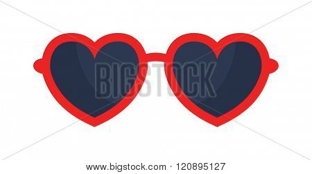 Vector heart glasses isolated on white. Heart glasses. Hipster heart glasses. Summer heart glasses vector illustration.  Heart  sunglasses isolated vector illustration