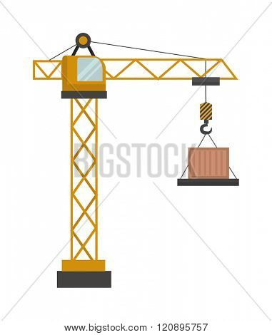 Construction crane vector illustration. Construction crane isolated on white background. Construction crane vector icon illustration. Construction crane isolated vector. Construction crane silhouette