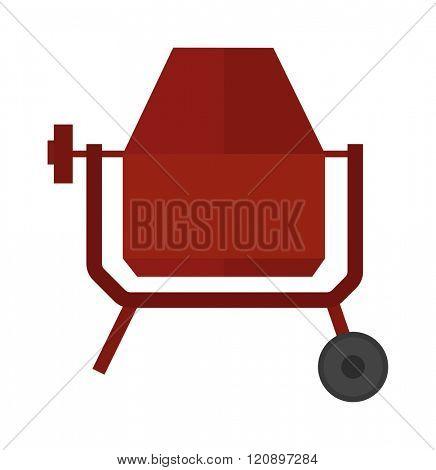 Concrete mixer vector illustration. Concrete mixer isolated on white background. Concrete mixer vector icon illustration. Concrete mixer isolated vector. Concrete mixer silhouette