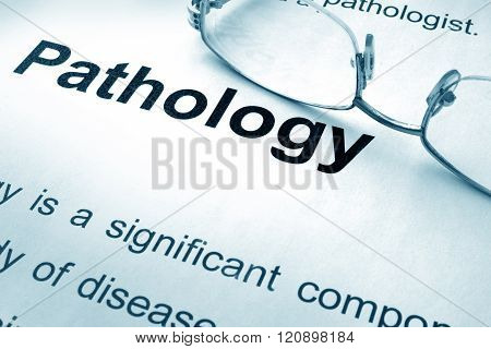 Pathology written on a paper.