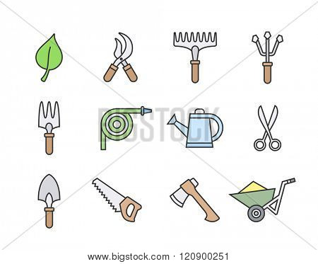 Gardening tools icon set. Vector illustration of garden tools. Linear style