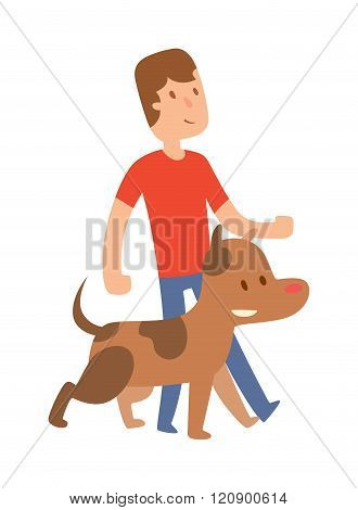 Best friend little boy with dog vector isolated on white background.